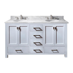 "Avanity Modero 61"" Double Vanity, White Finish, Carrera White Marble Top"