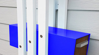 IAN, Modern Mailbox, Powder Coated Aluminum Frame, Brazilian Hardwood Door