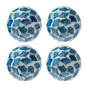 Blue Mosaic Ball, Set of 4