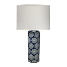 Navy Patterned Neva Table Lamp by Jamie Young