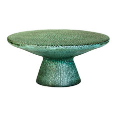Kate Modern Round Green Top Blue Base Ceramic Outdoor Coffee Table