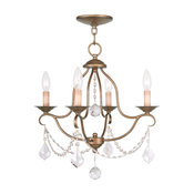 Chesterfield Collection 4 Light Antique Gold Leaf Mini Chandelier (6424-48)