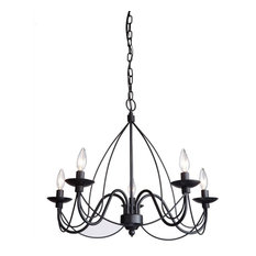 We Got Lites   Black Wrought Iron Black Wrought Iron 5 Light Chandelier    Chandeliers