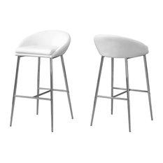 Barstool - 2Pcs / White / Chrome Base / Bar Height