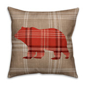 Red Plaid Bear Spun Poly Pillow, 18x18