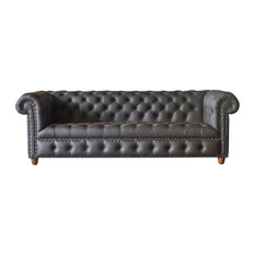 Baron Genuine Leather Chesterfield Sofa Brown