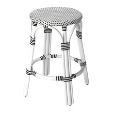 Butler Tobias Black And White Rattan Counter Stool