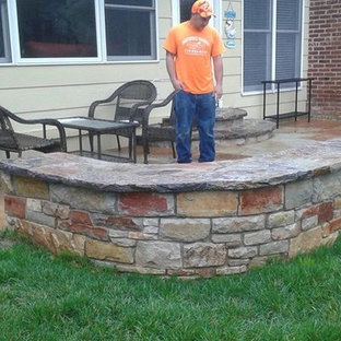 Natural Stone fire pit Stone walls stairs flagstone patio in chesterfield, mo