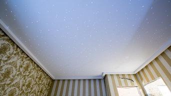 Установка натяжных потолков «звездное небо»