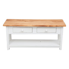 Country Wooden TV Stand, White and Natural