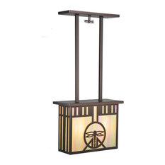 "Meyda Lighting 17""L Damselfly Oblong Pendant, Mahogany Bronze/Bai"