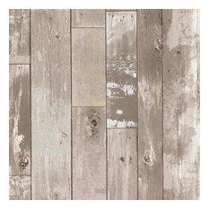 Brewster Heim Taupe Distressed Wood Panel Wallpaper Bolt
