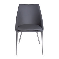 Stylish Dark Gray Leatherette Guest or Conference Chair (Set of 2)