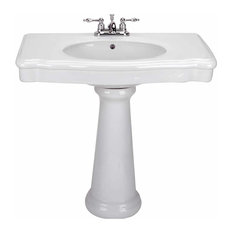 Pedestal Sink Darbyshire White China with Centerset Faucet Holes and Overflow