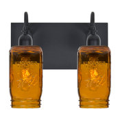 Milo 2 Light 120V Wall Lighting in Black with Amber Glass Shade