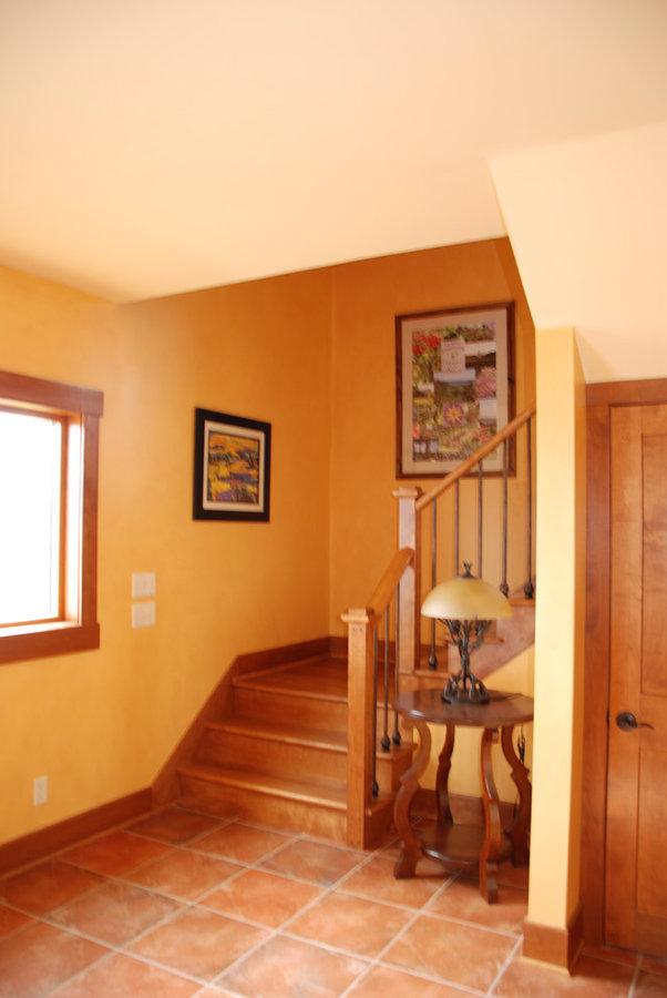 Sunny corner stairway