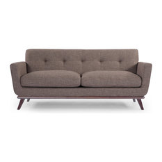 Jackie Midcentury Modern Classic Loveseat, French Press, Material: Twill