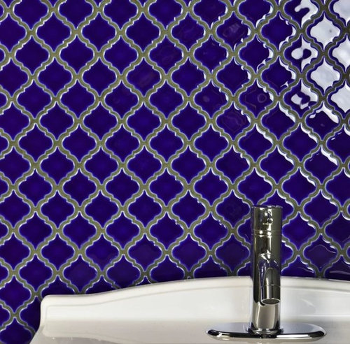 Silver Grout With Cobalt Blue Tiles