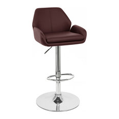 Set Of 2 Tesla Contemporary -inchLeather-inch Adjustable Barstool - Espresso