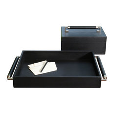 Double Handle Serving Tray, Black