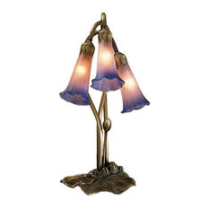 "16"" Pink and Blue Pond Lily 3-Light Accent Lamp"