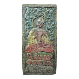 Mogul Interior - Consigned Indian Wall Panel Distressed Wood Hand Carved Buddha Door Panel - Wall Accents
