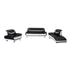 Renata 4-Piece Sofa and Lounge Chaise Set, Black and White