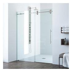 VIGO Elan Frameless Sliding Shower Door, Clear Glass, Stainless Steel Hardware,