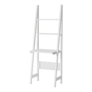 Modern Shelving Unit, White Painted MDF With 3 Open Shelves, Ladder Design