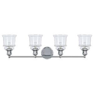 62126, 4-Light Metal Bathroom Vanity Wall Light Fixture, Chrome