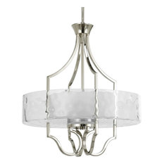 Caress 3-Light Inverted Pendant, Clear Water Glass, Polished Nickel