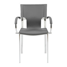 Euro Style - Vinnie Arm Chair, Gray With Chrome Legs, Set of 2 - Armchairs and Accent Chairs