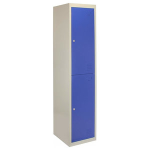Modern Storage Unit, Blue-Grey Finished Metal With 2-Door and Hanging Rail