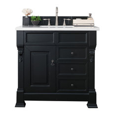 "Brookfield 36"" Antique Black Single Vanity w/ 3cm Carrara White Marble Top"