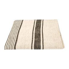 Linen Prewashed Provence Tablecloth, Black, 178x178cm