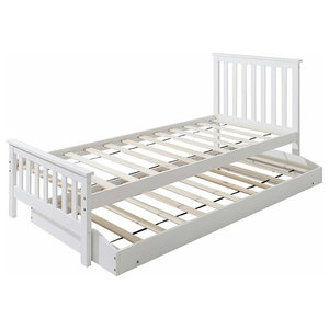 Single Bed, White Finished Wood Frame With Trundle, Slatted Base for Comfort