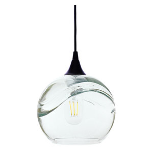 Swell Pendant Form No. 767, Clear Glass Shade, Black Hardware, 4W LED