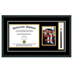 "Perfect Cases, Inc. - Single Diploma Frame with Tassel and Double Matting, Classic Black, 11""x17"", UV - Proudly display your achievement with our Single Diploma Frame, 5x7 photo and Tassel. This frame comes with your choice of moulding and crystal clear glass protection and includes a cut out for a 5x7 photo and your Tassel. We have several hardwood moulding options that have beautiful finishes. This frame also comes with Black over Gold double mat board colors.  Our last option is with our glass protection. We have standard clear glass and an upgraded Conservation Glass that provides museum quality 99% UV protection."