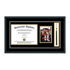 """Single Diploma Frame with Tassel and Double Matting, Classic Black, 11""""x14"""""""