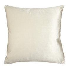 """Pillow Decor - Corona Velvet Throw Pillow, Ivory, 19""""x19"""""""