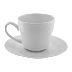 White Wicker Cup and Saucer, Set of 6