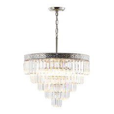 "Wyatt 22.5"" 4-Light Crystal Chandelier, Polished Nickel and  Clear"