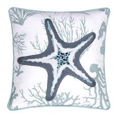 14 Karat Home Inc. - Starfish Crewel Stitch Pillow, 20x20 - Decorative Pillows
