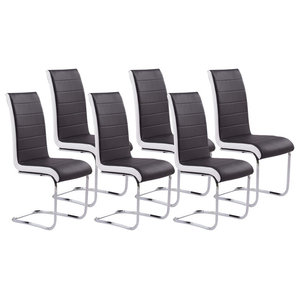 Chairs Upholstered, Black Faux Leather With Chrome Plated Base, Set of 6