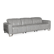 Giancarlo Motion Leather Sofa With Power Headrest, Silver Gray