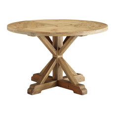 Brown Stitch 47-inch Round Pine Wood Dining Table