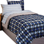 In Style - Blue Diamond Comforter Sheets Shams Bedskirt Set, Full - FEATURES: