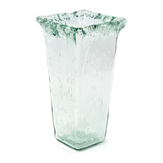 """100% Recycled Glass Textured Large Square Vase, 7.25""""x7.25""""x13"""""""