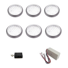 6 piece neutral white LED puck light kit with 26W dimmable hardwire power supply
