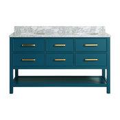 "Louella Blue Bathroom Vanity With Marble Top, 60"""
